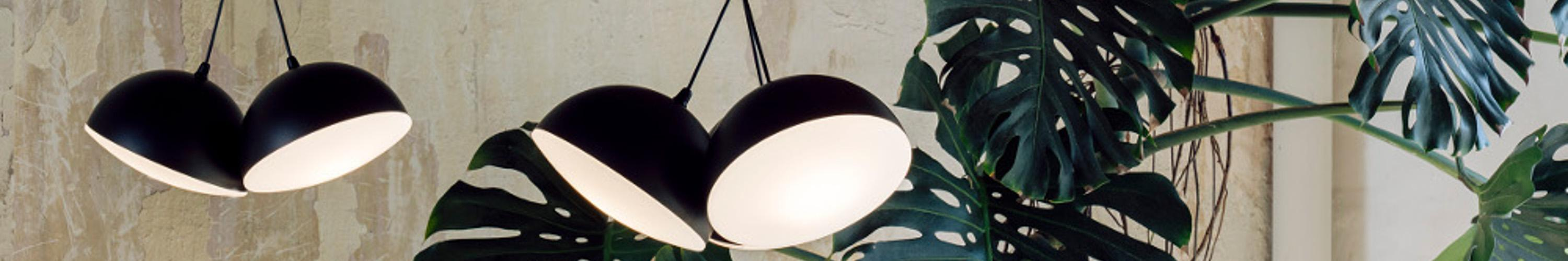 Hanging lamps with one, two or three lights with opal satin glass